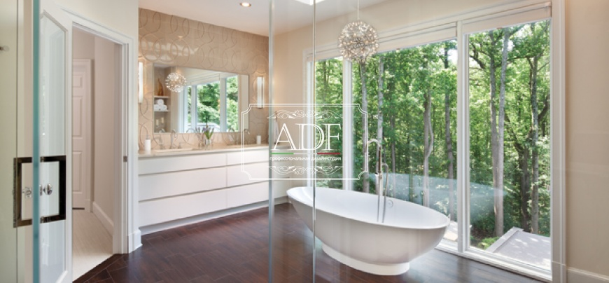 Дизайн интерьера ванной комнаты в загородном доме.