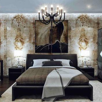 Спальня в двухэтажной квартире в стиле loft