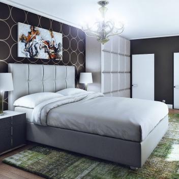 Спальня с зелеными акцентами